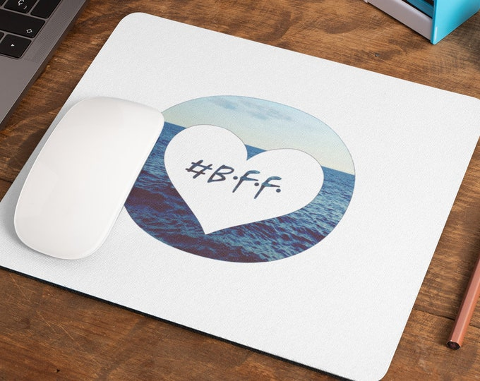 """Mousepad/Mousepad """"bff - best friends forever."""" Maritime mousepad for your desk in white for your best friend"""