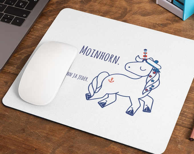 """Mousepad/Mousepad """"Moinhorn (R)"""" funny, maritime mousepad for your desk in white"""