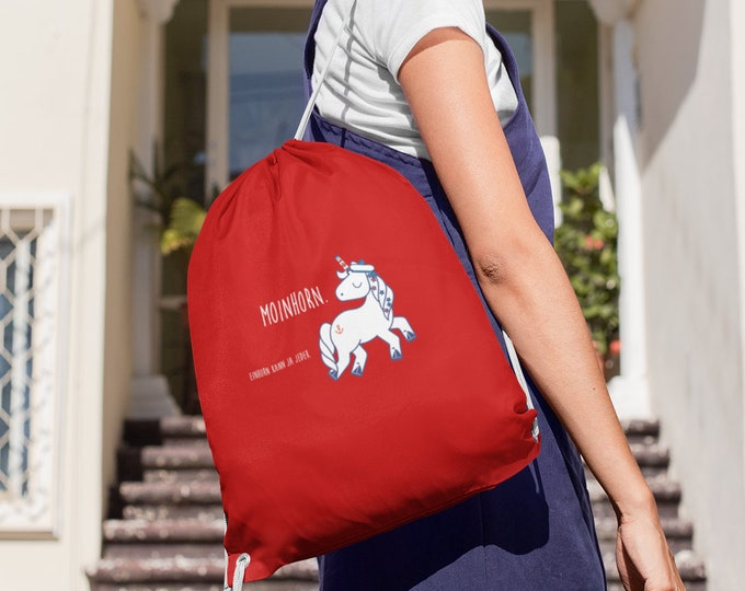 """Gymnastics bag """"Moinhorn (R)"""" maritmer, funny cotton gym bag, washable, with cords in different colors"""