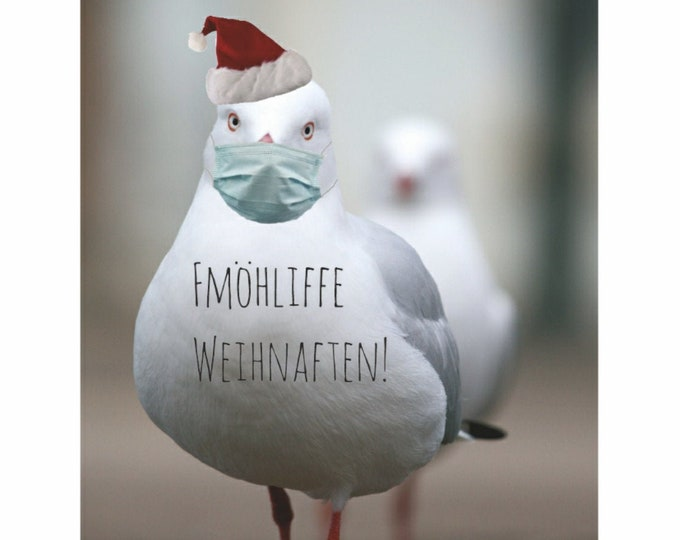 """Postcard """"Fmöhliffe Weihnaften"""" Seagull with Mouth Nose Protection, Corona Christmas Card"""