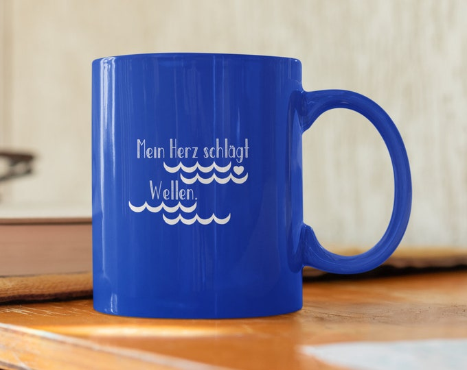 """Cup/cup """"My heart beats waves"""" cup for sea lovers/surfers/sailors"""