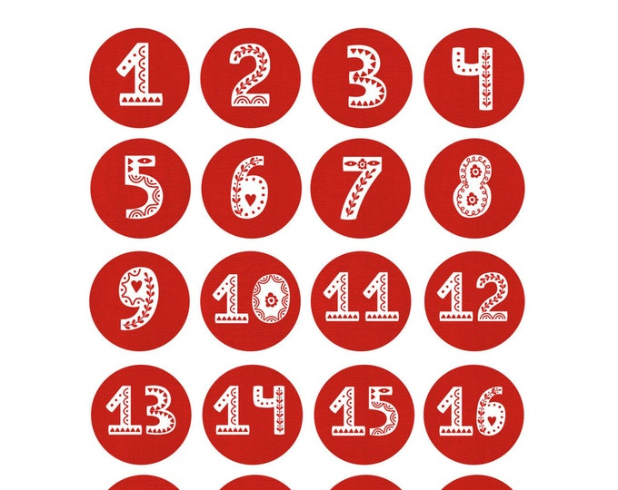 """Sticker sheet """"Advent calendar numbers hygge"""" in the cozy Scandi look/24 number sticker in red"""