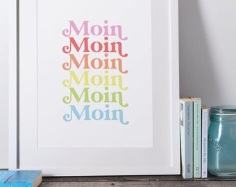 Digital Print Printable Download Poster Digital Download Art Print Moin Retro Low German North German 70s 70s Gift Entry
