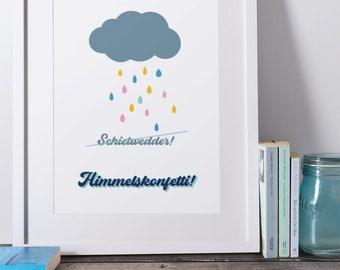 Digital Print Printable Download Poster Digital Download Art Print Weather Weather Low German North German Rain Children's Room