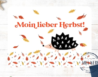 Postcard Autumn Autumn Leaves Autumn Leaves Hedgehog Funny Postcard Map North German Weather Autumn Decoration Moin Northern Germany