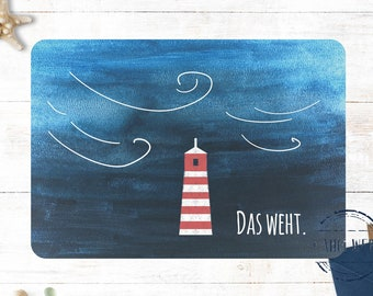 Funny Postcard North German Lighthouse Storm Weather Northern Germany Coastal Love Sayings Map Moin Das weht