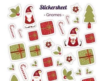 Sticker Gnome Christmas Christmas Gnome Sticker Sheet Bullet Journal Stickersheet Scrapbook Sticker Scandinavia Christmas Sticker