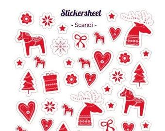 Sticker Scandi Sticker Sheet Bullet Journal Stickersheet Scrapbook Sticker Scandinavia Christmas Stickers Sweden Stickers Christmas
