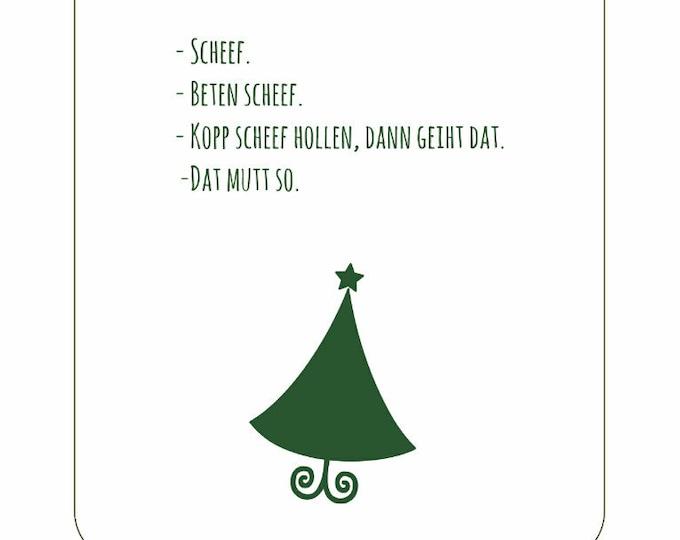 """Postcard """"Veer Orten een Wiehnachtsboom optostellen"""" funny flat German Christmas card/op Platt"""