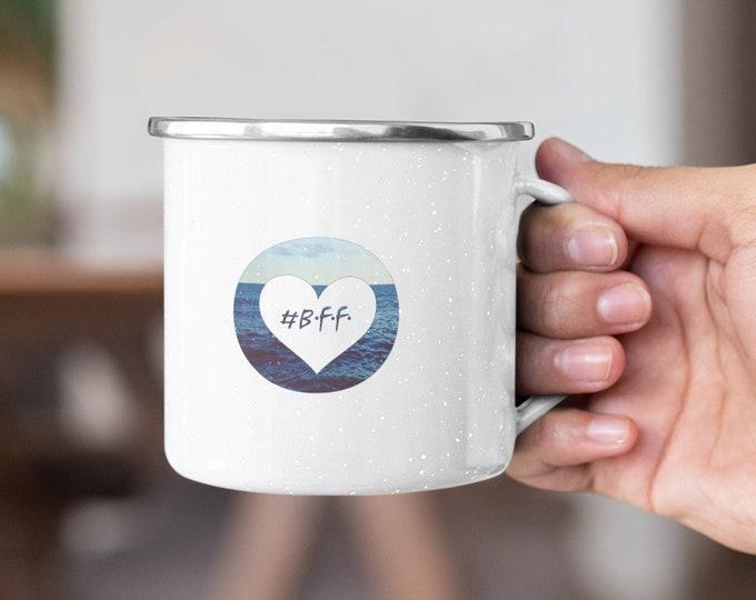 """Enamel Mug """"BFF - Best friends forever"""" Maritime Enamel Mug/Camping Mug for Friends & Girlfriends"""