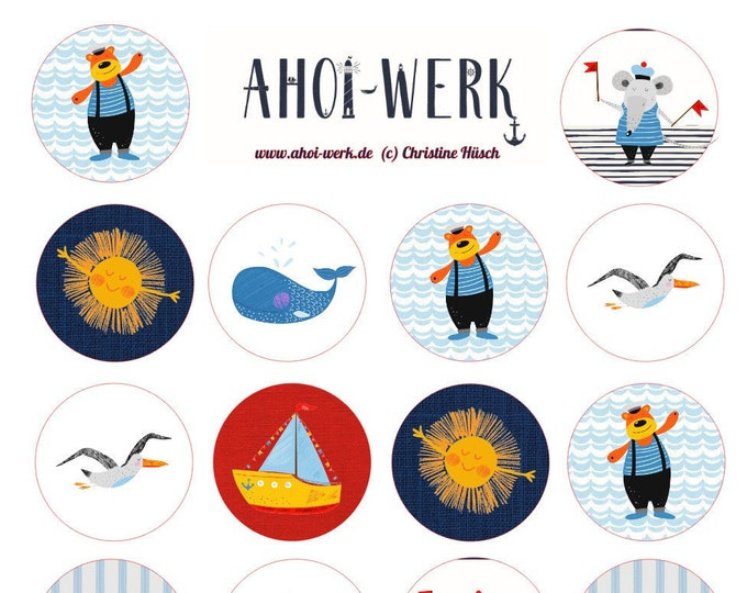 """Sticker sheet """"Maritime funny stickers for kids"""" stickers/stickers"""