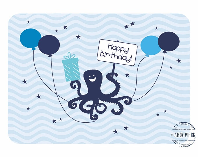 "Postcard ""Maritime children's birthday - Kraken"""