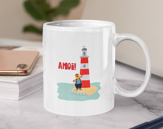 """Cup/cup """"Ahoi"""" Maritime Bear with lighthouse"""