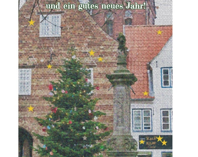 """Greeting/double card """"Merry Christmas/Flensburger Nordermarkt"""" with kraft paper cover"""