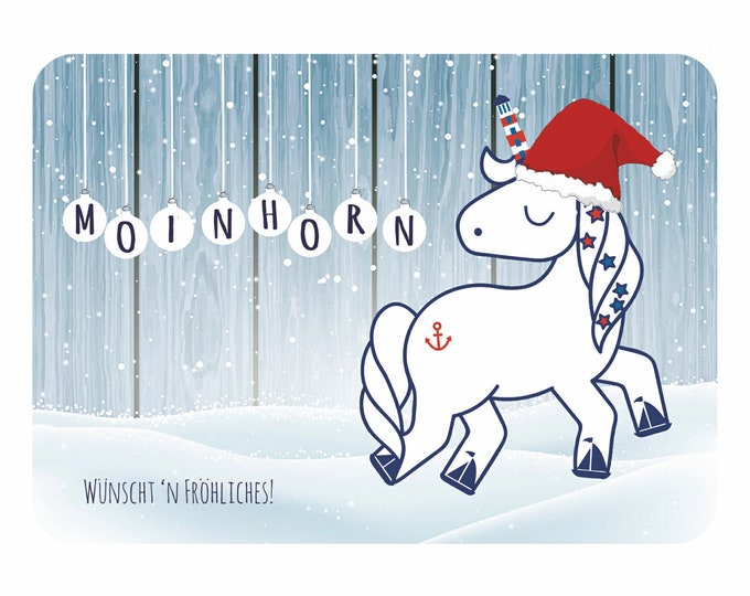 "Postcard ""Moinhorn Christmas"" maritime, cute moinhorn card/north German unicorn"
