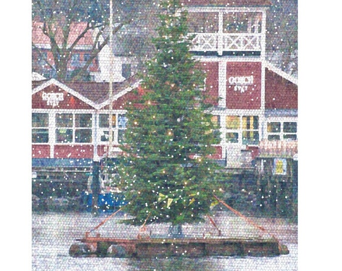 """Greeting/double card """"Merry Christmas from the port/with fir tree"""" with kraft paper cover"""