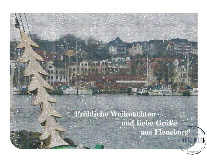 """Greeting/double card """"Merry Christmas from Flensburg"""" with kraft paper envelope"""