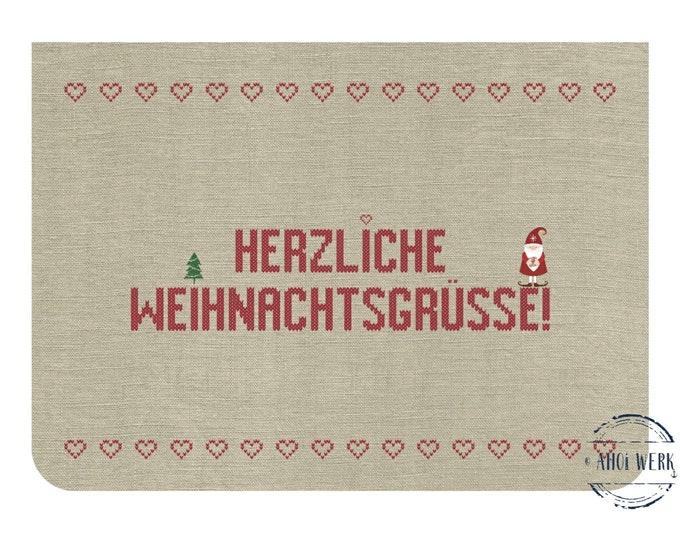 "Greeting/double card ""Heartfelt Christmas greetings"" with kraft paper envelope"