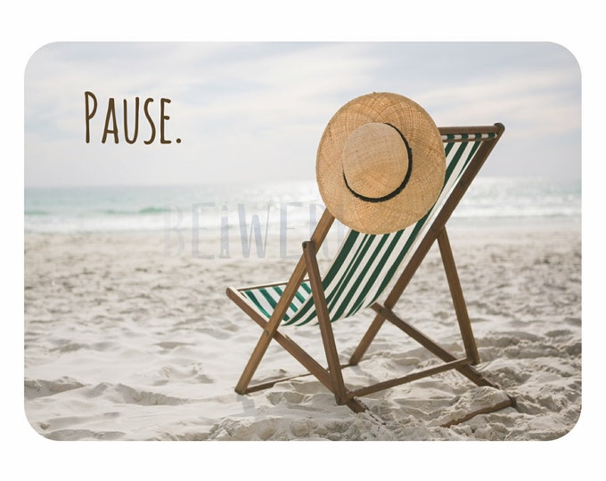 "Postcard ""Pause"" postcard with beach motif and deckchair"