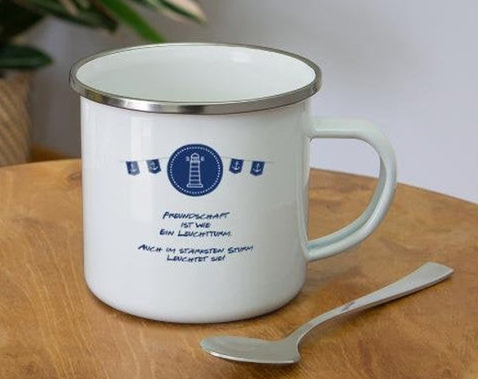 "Enamel mug ""Friendship is like a lighthouse"" Maritime enamel mug for best friends"