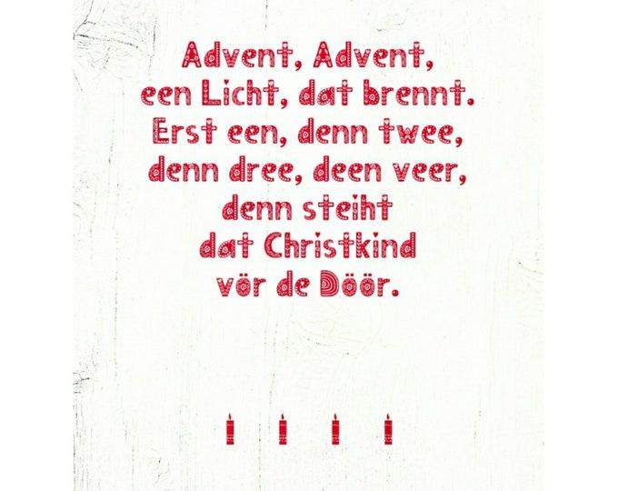 """Postcard """"Advent, Advent, een Light, dat burns..."""" Plattdeutsche Advent Card"""