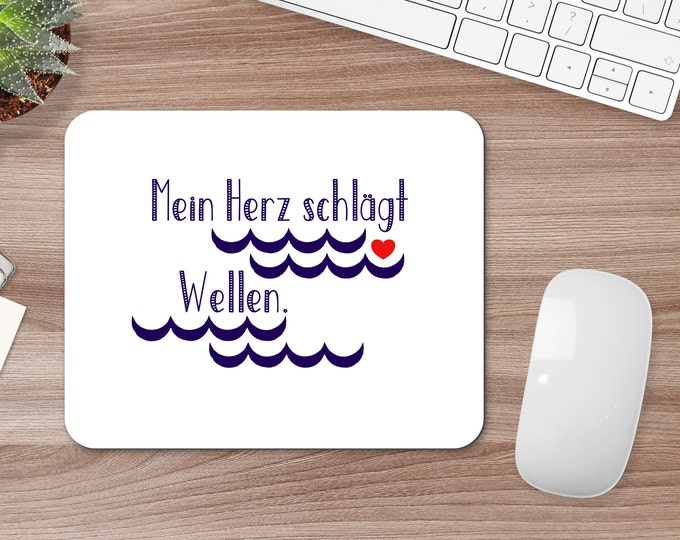 """Mousepad/Mousepad """"My Heart Beats Waves"""" Maritime Mousepad for Sea Lovers"""