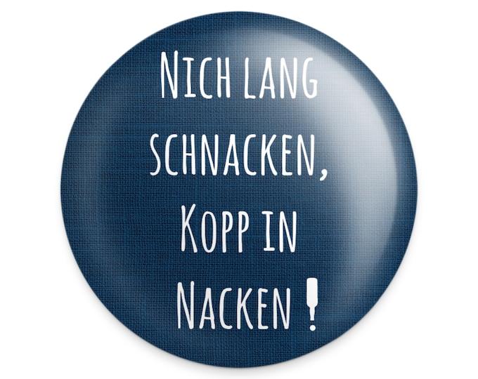 """Bottle opener magnetic """"Nich lang schnacken"""" North German magnet/magnet with bottle opener blue"""