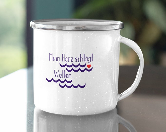 "Enamel Mug ""My Heart Beats Waves"" Maritime Enamel Mug for Sailors/Surfers/Sea Lovers"
