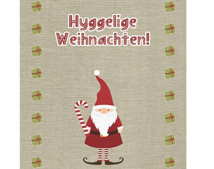 """Greeting/double card """"Hyggelige Christmas"""" with kraft paper envelope"""