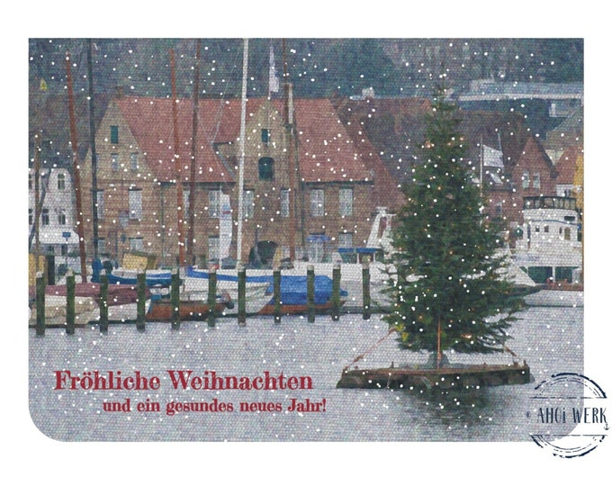 """Greeting/double card """"Merry Christmas from the harbour"""" with kraft paper envelope"""