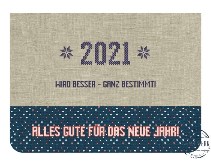 """Greeting/double card """"2021 is getting better"""" with kraft paper envelope"""