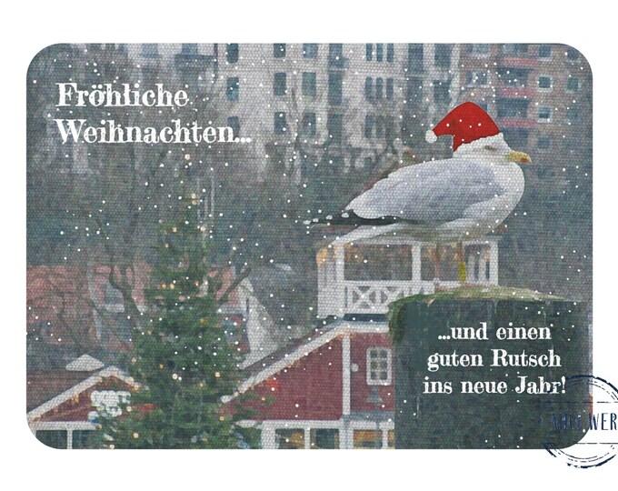 "Postcard ""Christmas Greetings with Seagull"""