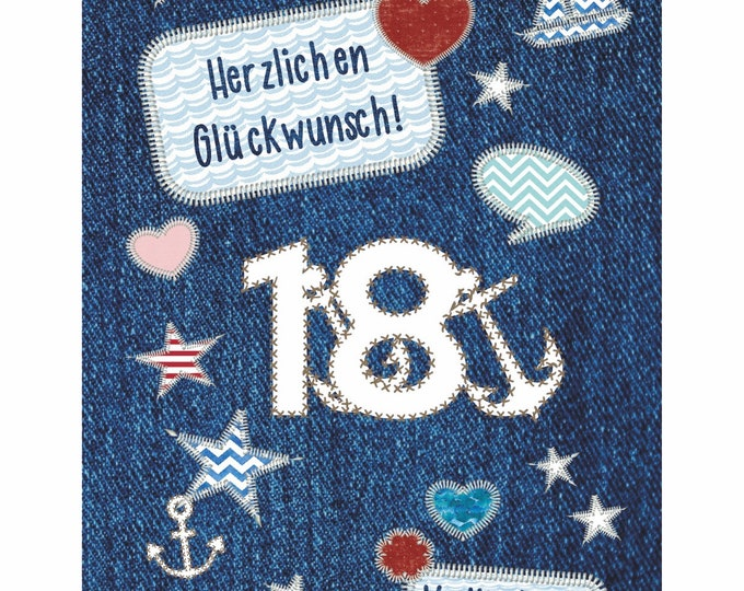 """Greeting/Double Card """"18th Birthday"""""""