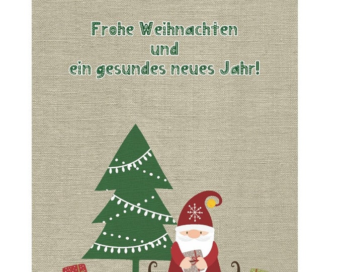 """Greeting/double card """"Christmas implication under'm fir tree"""" with kraft paper cover"""