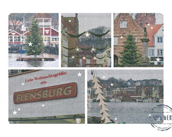 """Greeting/double card """"Dear Christmas greetings from Flensburg"""" with kraft paper envelope"""