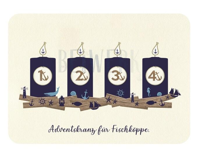 "Postcard ""Adventskranz für Fischköppe"" funny maritime Advent card/card at Christmas time"