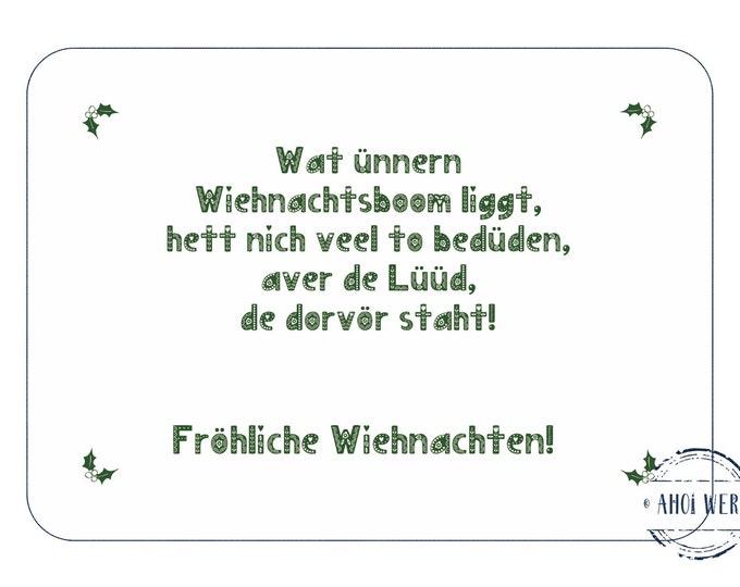 "Postcard ""Ünner'n Wiehnachtsboom"" Plattdeutsche contemplative Christmas card"