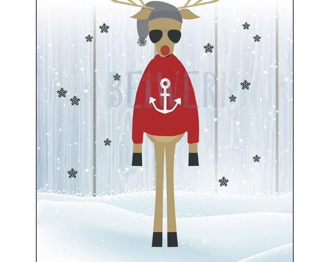 "Postcard ""Hipster Reindeer"""