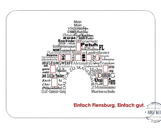 """Postcard Wordcloud """"Nordertor"""" - Flensburg Attractions"""