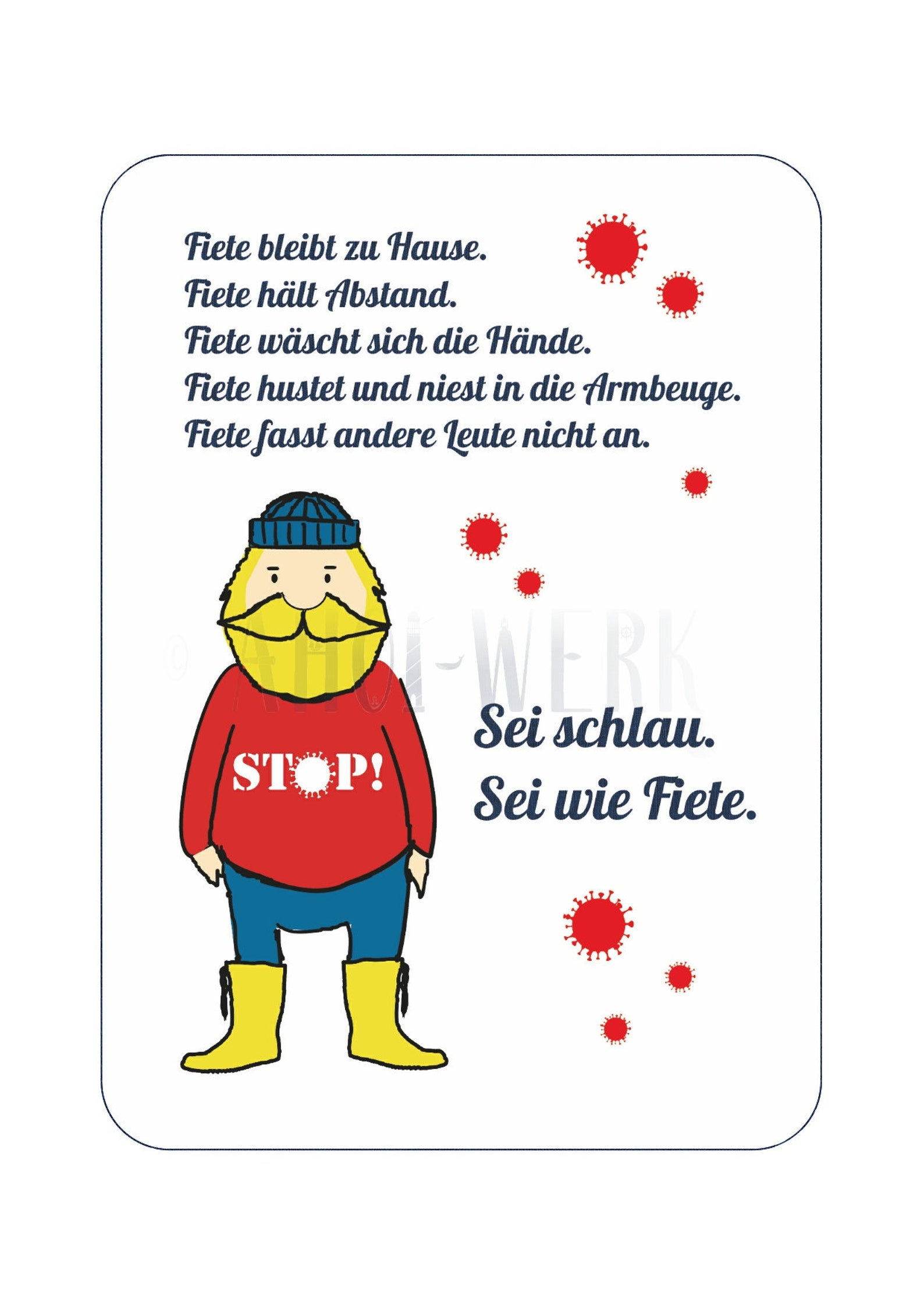 Witzige Postkarte mit Corona-Regeln Fiete   Etsy