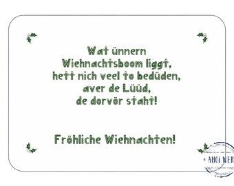 Low German Christmas Card Postcard Christmas North German hyggelige Card Christmas Tree Wiehnachten Postcard Family