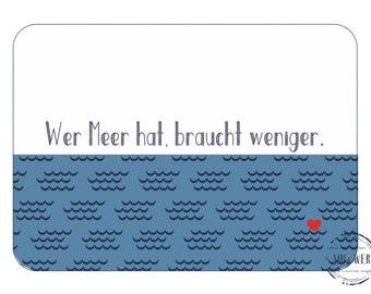Maritime Postcard Sea Map Postcard Sayings Meerweh Postcard for Sailors Surfing Kitesurfing Sea Love Waves Pattern