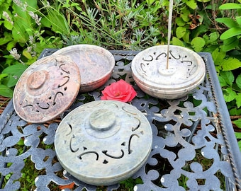 Incense bowl 3 in 1 soapstone with lid Incense stick holder Smoking vessel