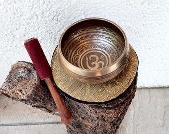 SET Small Singing Bowl OM Tibet Copper + Bobbin + Pillow
