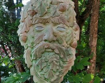 Green Man XXL Wall Relief Stone Figure Leaf Face Leaf Face Mystical Deco Garden Terrace Balcony Tree
