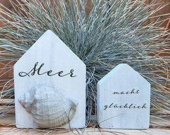 Set of 2 Concrete Houses *Sea Makes You Happy* Deco Concrete House Concrete Houses Maritime Shell