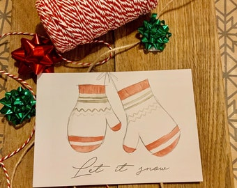 Postcard Christmas Greeting Card Gloves Jingle Bells Merry Christmas Love Gift Idea
