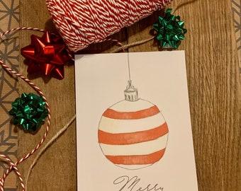 Postcard Christmas Greeting Card Christmas Tree Ball Love Gift Idea