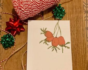 Postcard Christmas Greeting Card Rosehip Jingle Bells Merry Christmas Love Gift Idea