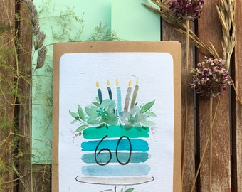Birthday Card Watercolor Personalized Card Folding Card Birthday Cake Watercolor Kraft Paper